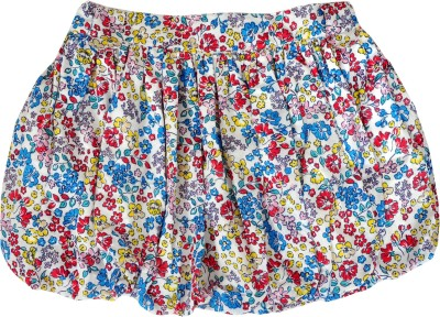 Sunbright Floral Print Girl's Bubble Multicolor Skirt