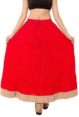 Decot Paradise Solid Women's Regular Red Skirt