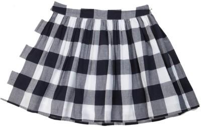 SbuyS Checkered Girl's Regular Black Skirt