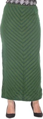 Colors & Blends Striped, Self Design Women's Tube Green Skirt