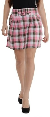 Purplicious Checkered Women's A-line Pink, Grey, White Skirt