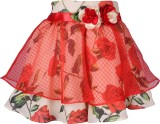 Cutecumber Floral Print Girls A-line Red...