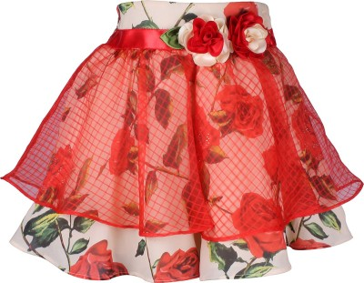 Cutecumber Floral Print Girl's A-line Red Skirt