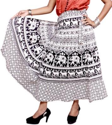 pinksisly Paisley Women,s Wrap Around White Skirt