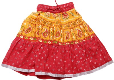 Sunshine Printed Girl's A-line Maroon Skirt