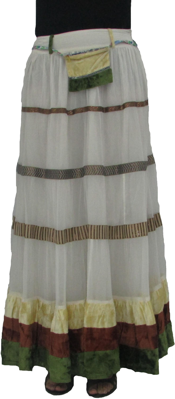 Yaya Solid Womens A-line White Skirt