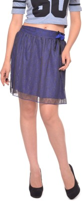 Vvoguish Self Design Women's Pleated Blue Skirt