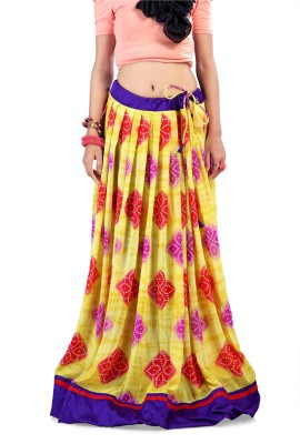 Admyrin Printed Women's Wrap Around Yellow Skirt