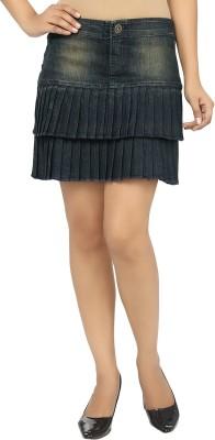 UrSense Self Design Women's Pleated Grey Skirt