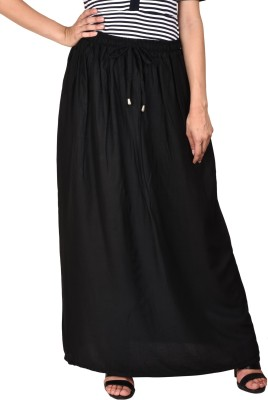 CURVYY Solid Women,s A-line Black Skirt