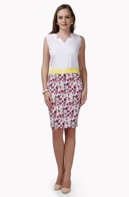 Glam & Luxe Floral Print Women's Pencil Pink, Yellow Skirt