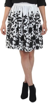 Shopingfever Floral Print Women's A-line White Skirt
