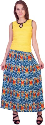 Essential Elements Printed Women's Gathered Multicolor Skirt