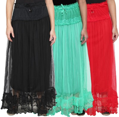 NumBrave Self Design Women's Layered Black, Green, Red Skirt