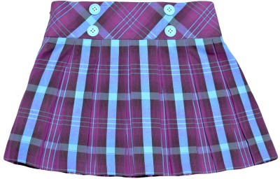 Caca Cina Checkered Girl's Pleated Multicolor Skirt