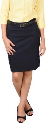 LGC Solid Women's Straight Dark Blue Skirt