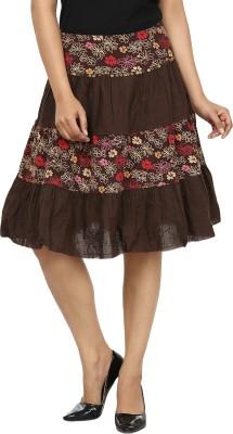 Gossip Girls Embroidered Women's Regular Brown, Red Skirt