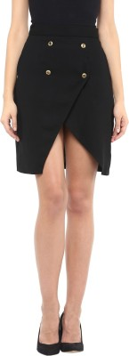 Roving Mode Solid Women's Wrap Around Black Skirt at flipkart
