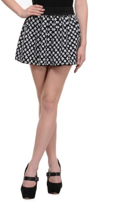 N-Gal Floral Print Women's Pleated White, Black Skirt