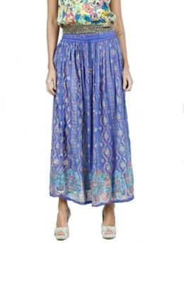 PINK SISLY Printed Women's Layered Blue Skirt
