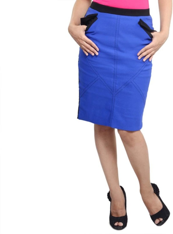 Vea Kupia Solid Women's Pencil Blue Skirt