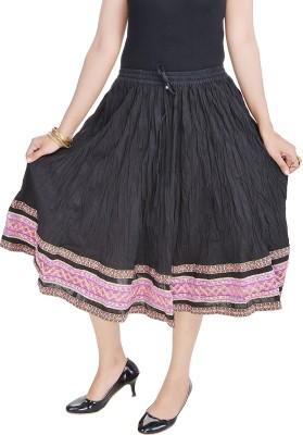 Prateek Exports Floral Print Women's Regular Black Skirt