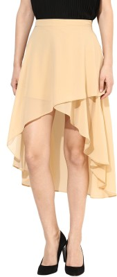 Harpa Solid Women's Asymetric Beige Skirt