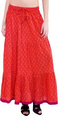 Tuntuk Floral Print Women's A-line Orange Skirt