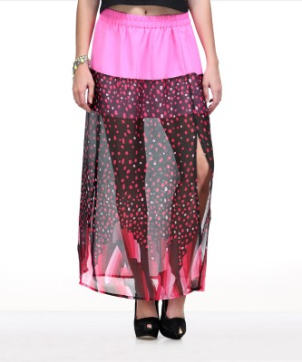 Yepme Printed Women's A-line Pink, Blue Skirt at flipkart
