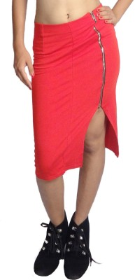 Oomph Factor Solid Women's Pencil Red Skirt