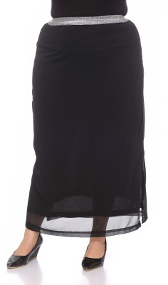 PlusS Solid Women's Regular Black Skirt