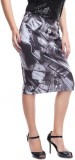 Zoys Printed Women's Pencil Grey Skirt