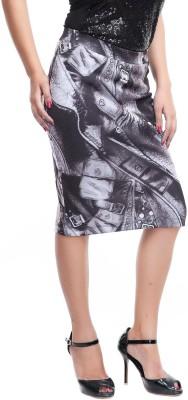 ZOYS Printed Women's Pencil Grey Skirt