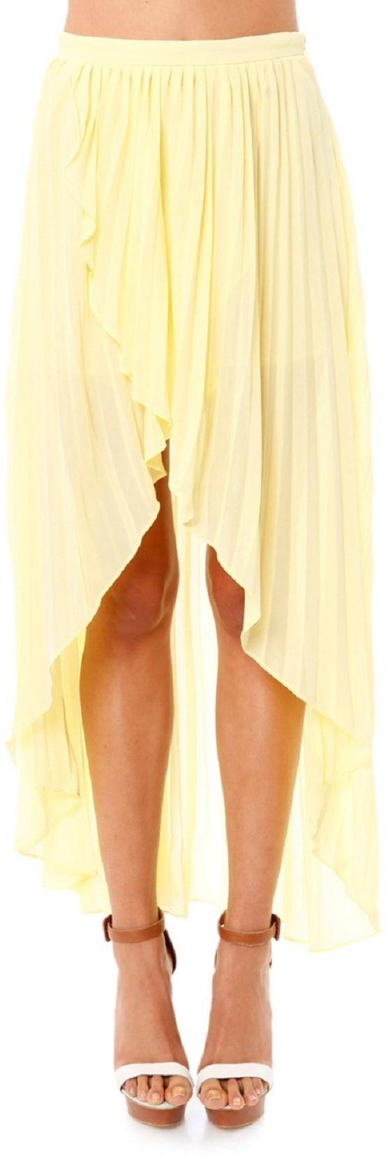 Junk Solid Womens Pleated Yellow Skirt