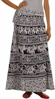 MDS Jeans Printed Women's Wrap Around Black, White Skirt