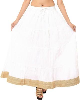 Wardtrobe Solid Women's Regular White Skirt