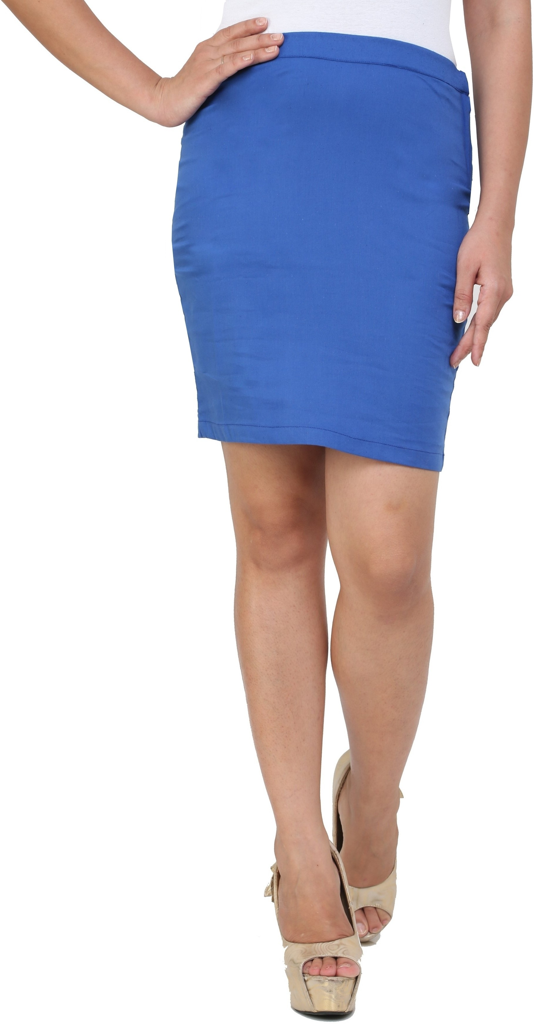 Cottinfab Solid Womens Pencil Blue Skirt