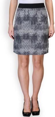 Purplicious Printed Women's A-line Grey, Black Skirt