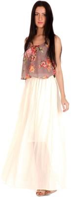 Bombay High Solid Women's Gathered White Skirt