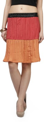 Glam and Luxe Solid Women's Pleated Red, Orange Skirt