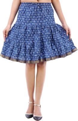 Desert Eshop Printed Women's Broomstick Blue Skirt