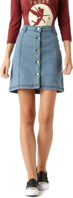 Dressberry Solid Women's A-line Blue Skirt at flipkart