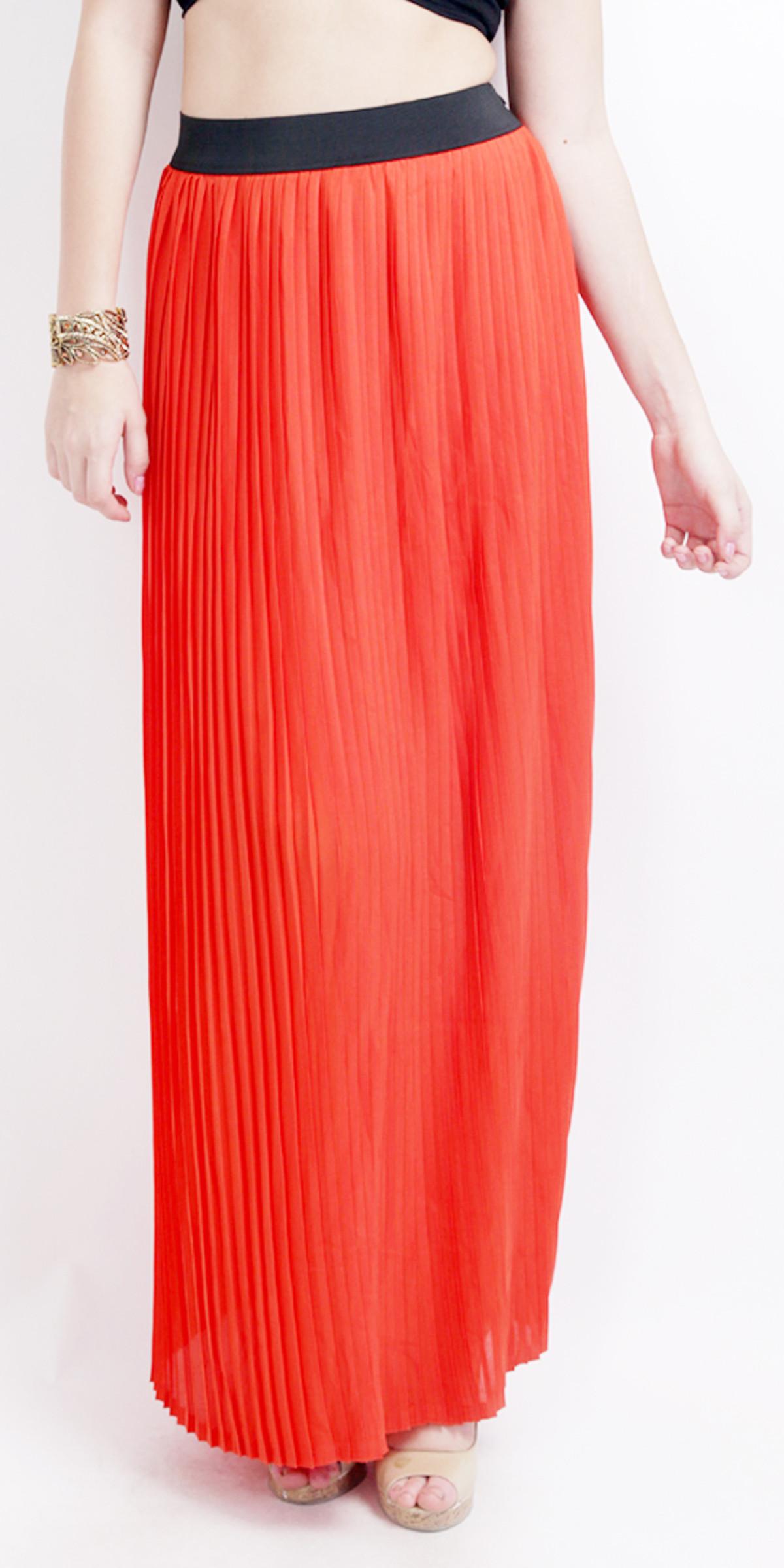 Ridress Solid Womens Pleated Orange Skirt