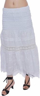 Jaipur Kala Kendra Solid Women's Regular White Skirt