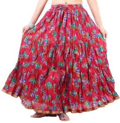 Vivancreation Embroidered Women's Regular Red Skirt