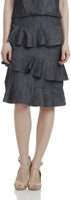 James Scot Solid Women's Layered Grey Skirt