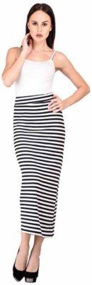 Raabta Fashion Striped Women's A-line Black, White Skirt