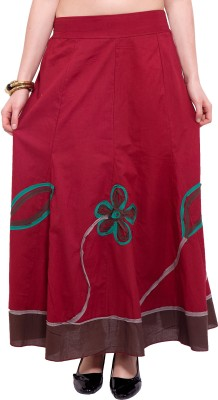 Tuntuk Solid Women's A-line Maroon Skirt