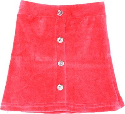 Lil Orchids Solid Girl's Straight Pink Skirt
