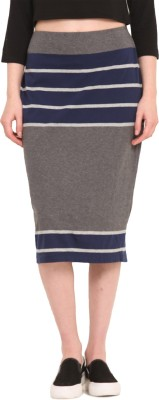 Saiesta Striped Women's Regular Grey Skirt